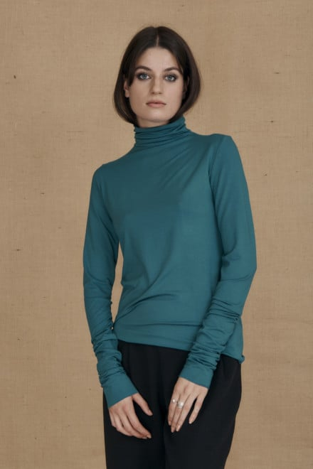 Fine-knit duck blue viscose turtleneck WONDER - 1