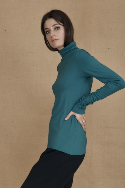 Fine-knit duck blue viscose turtleneck WONDER - 2