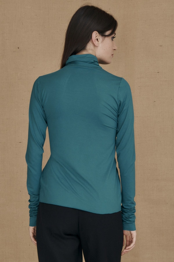 Fine-knit duck blue viscose turtleneck WONDER - 3