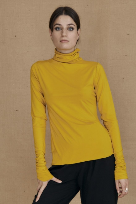 Fine-knit yellow viscose turtleneck WONDER - 1