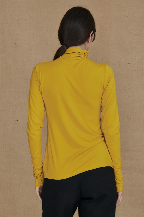 Fine-knit yellow viscose turtleneck WONDER - 3