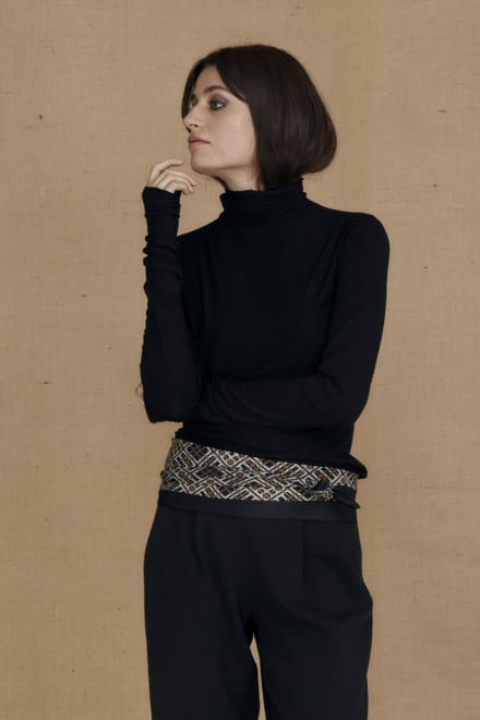 Fine-knit black viscose turtleneck WONDER - 1-1