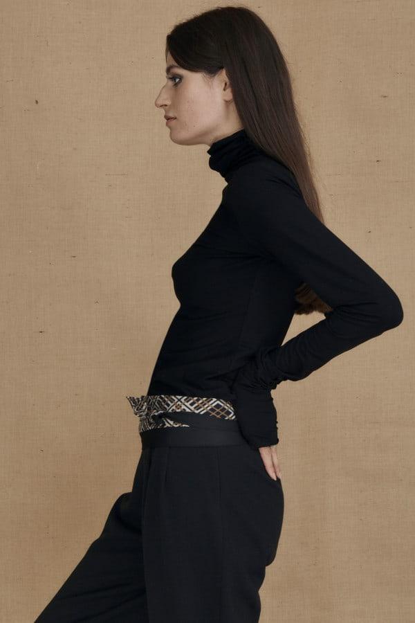Fine-knit black viscose turtleneck WONDER - 3-1