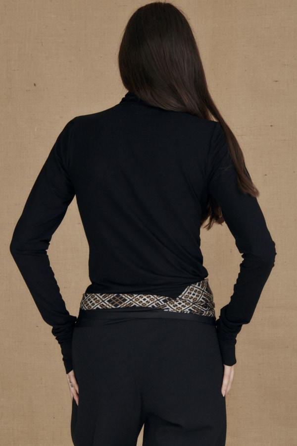Fine-knit black viscose turtleneck WONDER - 4-1