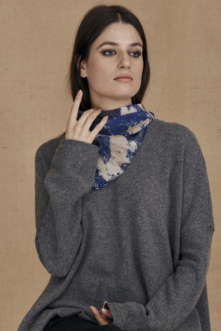 Blue eco-print silk scarf ANNA - 1