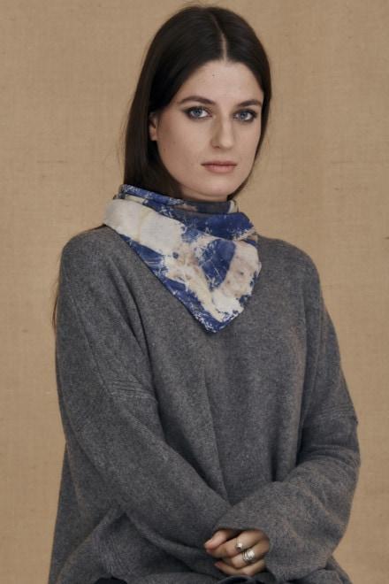 Blue eco-print silk scarf ANNA - 2