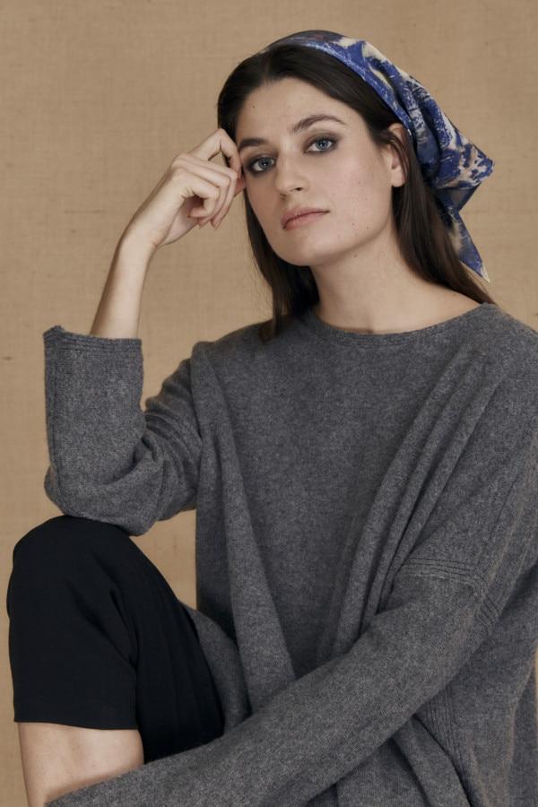 Blue eco-print silk scarf ANNA - 3