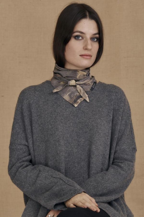 Gray-beige eco-print silk scarf ELIZA - 1