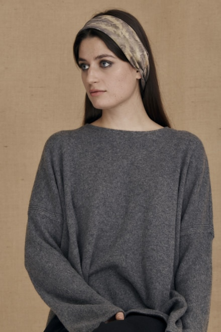 Gray-beige eco-print silk scarf ELIZA - 2
