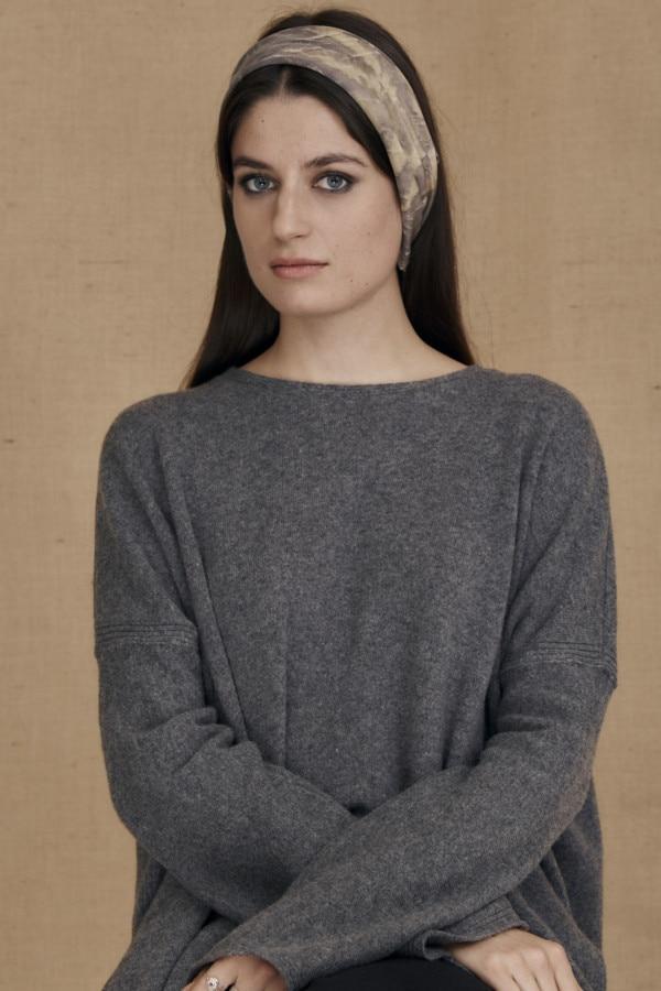 Gray-beige eco-print silk scarf ELIZA - 3