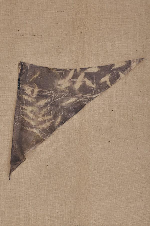 Gray-beige eco-print silk scarf ELIZA - 5