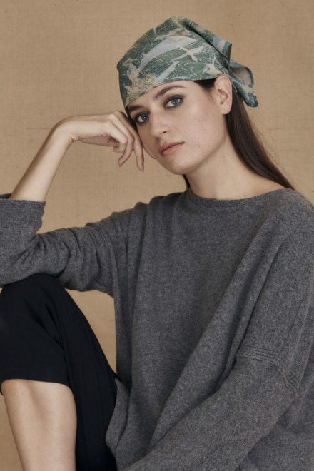 Green eco-print silk scarf YUAN - 2