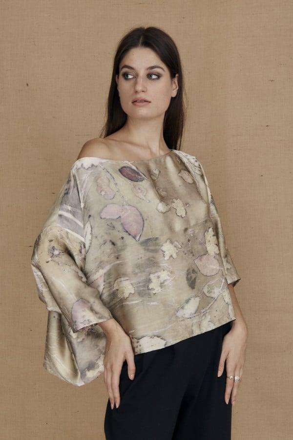 Wide eco-print silk satin top MEI - 1