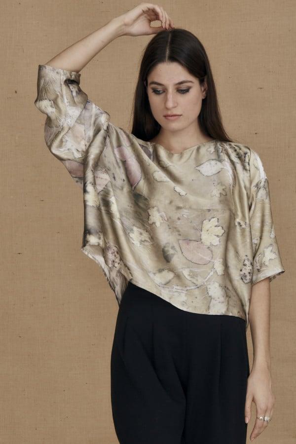 Wide eco-print silk satin top MEI - 2