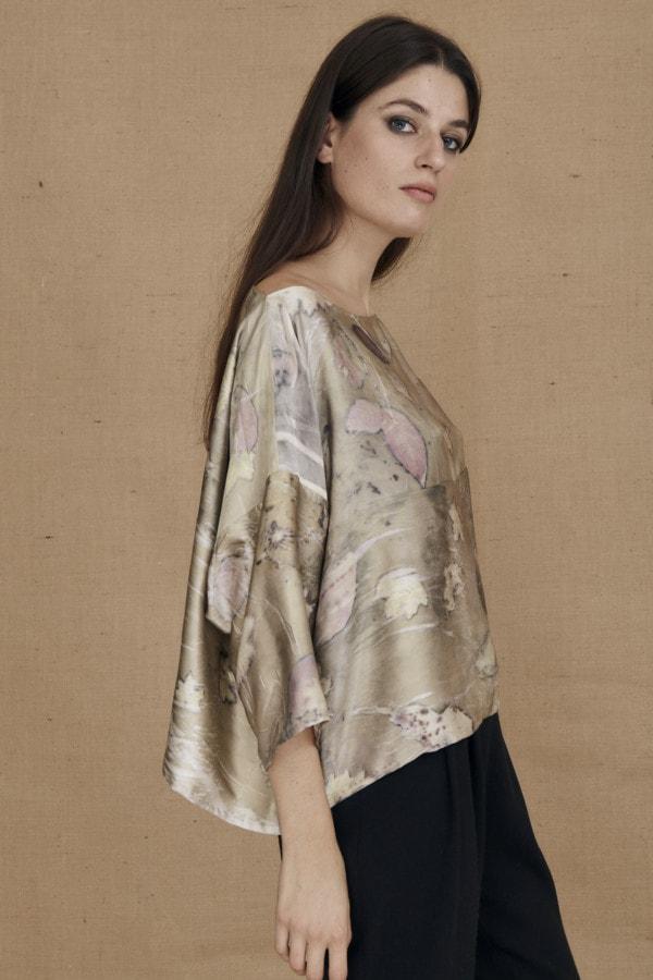 Wide eco-print silk satin top MEI - 3
