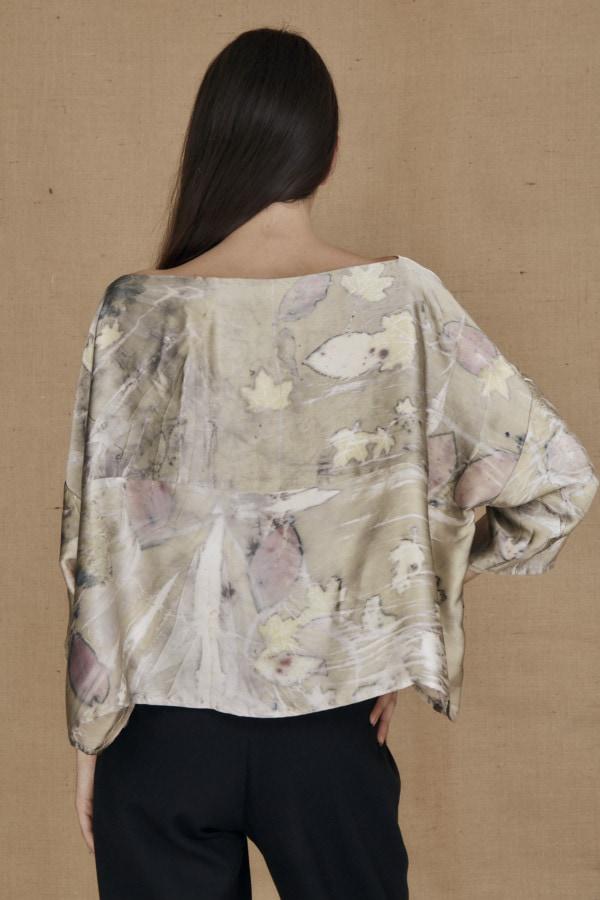 Wide eco-print silk satin top MEI - 4