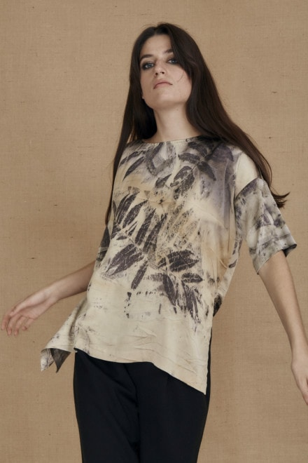 Oversized eco-print silk satin top BEA - 1