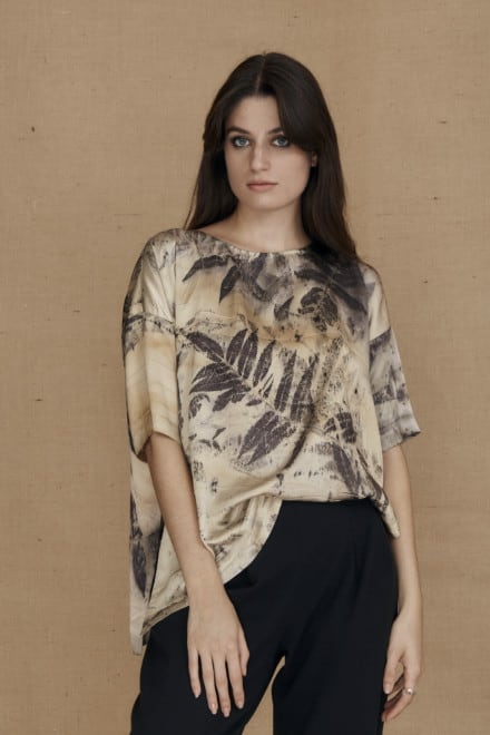 Oversized eco-print silk satin top BEA - 2