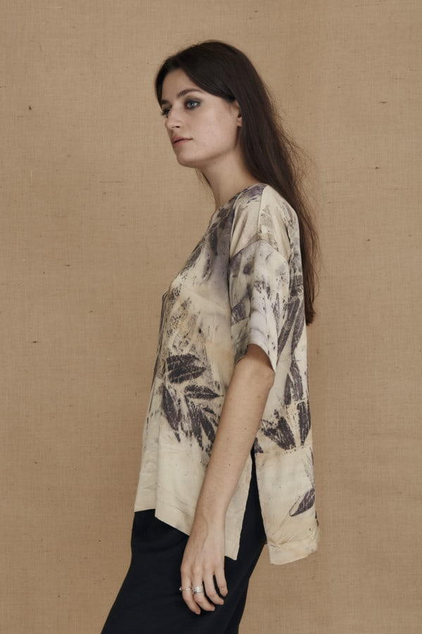 Oversized eco-print silk satin top BEA - 3