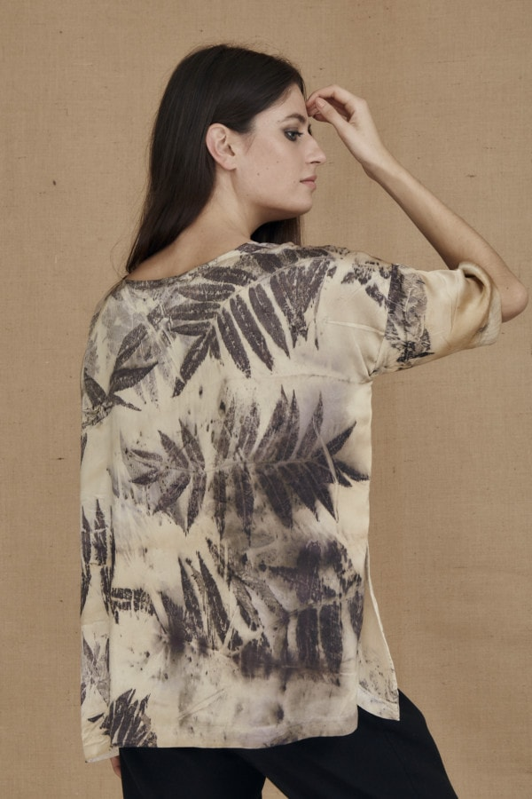 Oversized eco-print silk satin top BEA - 4