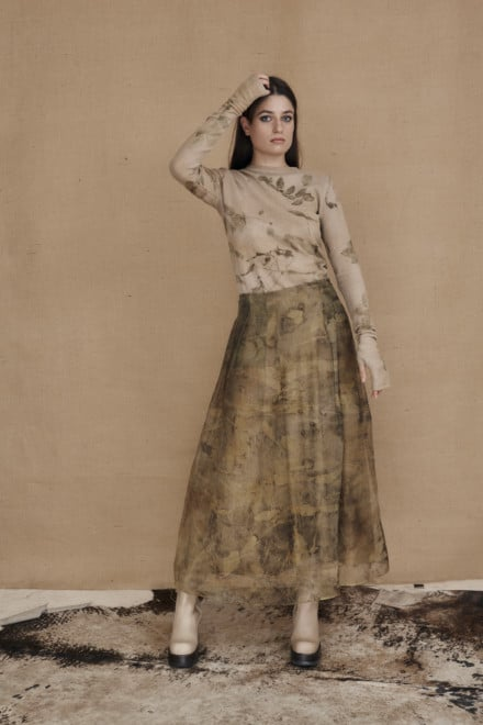 Long bohemian skirt in ecoprint silk organza - 1