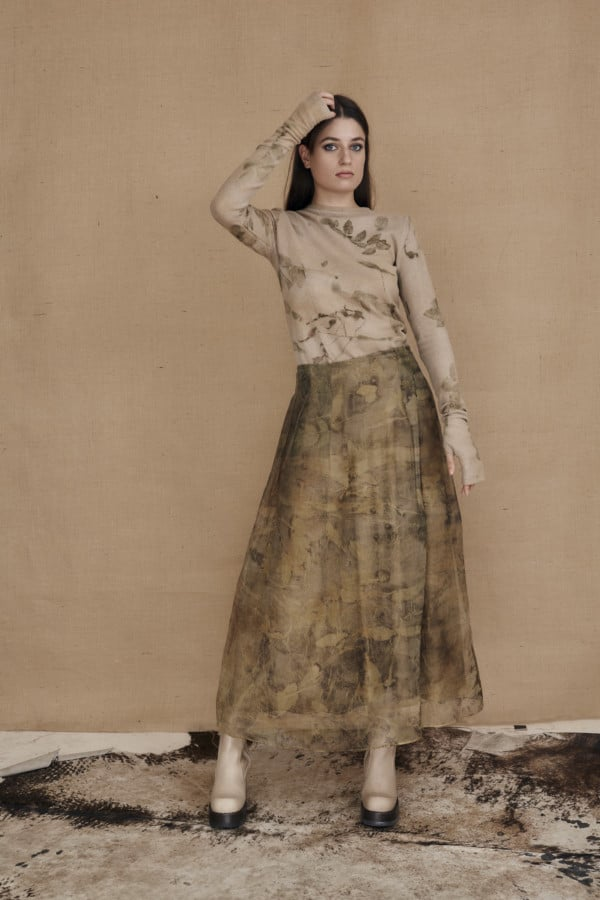 Long bohemian skirt in ecoprint silk organza - 1