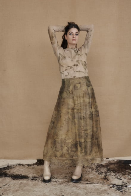 Long bohemian skirt in ecoprint silk organza - 2