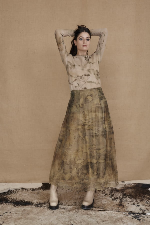 Long bohemian skirt in ecoprint silk organza - 2