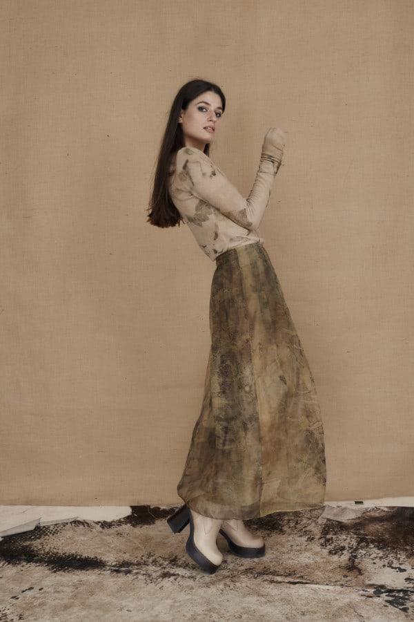 Long bohemian skirt in ecoprint silk organza - 3
