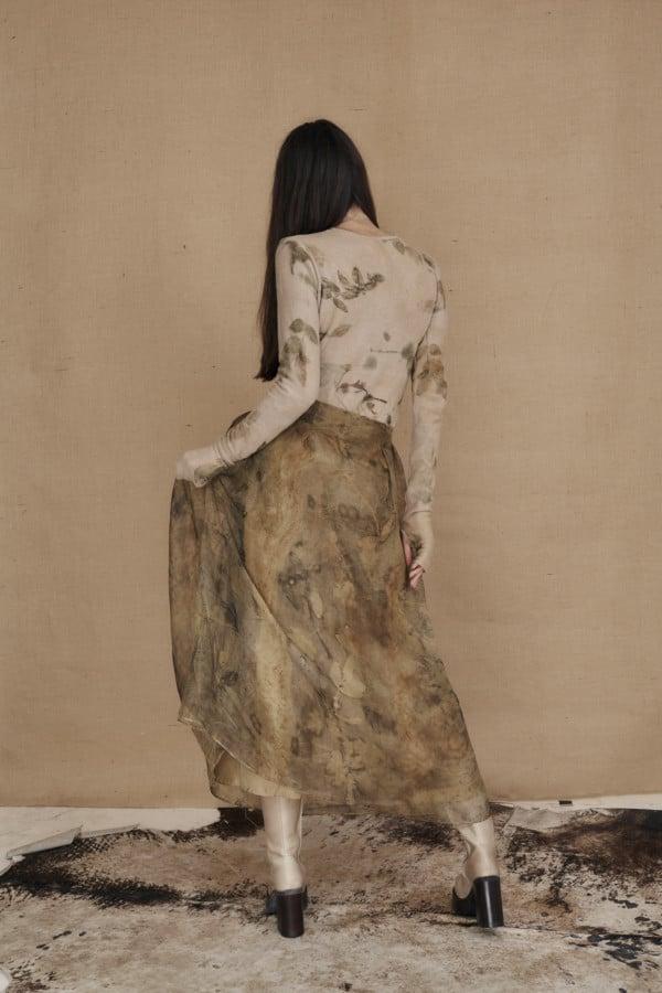 Long bohemian skirt in ecoprint silk organza - 4