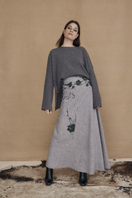 Long flared hand painted wool skirt MILADY gray - 1