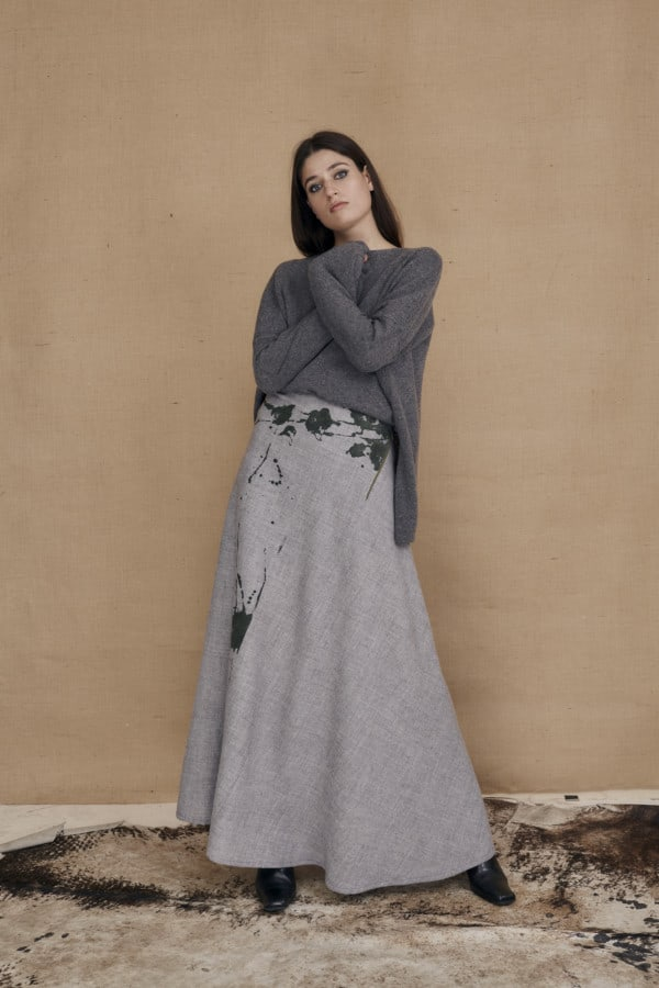 Long flared hand painted wool skirt MILADY gray - 2