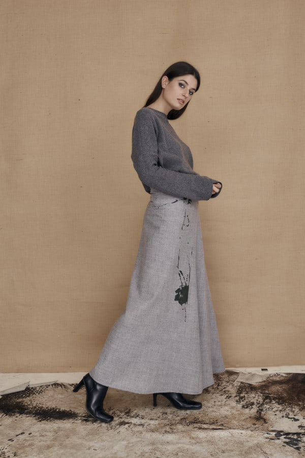 Long flared hand painted wool skirt MILADY gray - 3