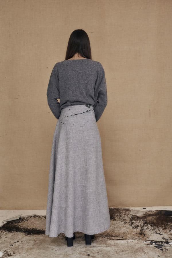 Jupe longue evasee en laine peint a la main MILADY gris - 4