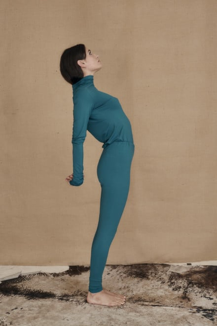 Teal blue viscose knit leggings COLLIB - 2