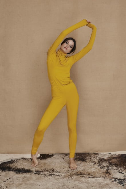 Yellow viscose knit leggings COLLIB - 1
