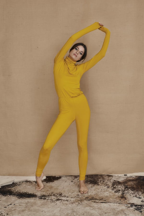 Yellow viscose knit leggings COLLIB - 1