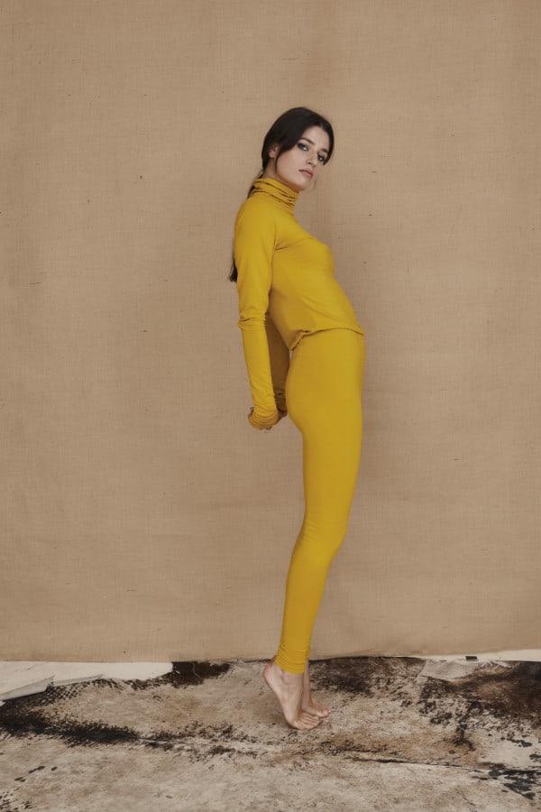 Yellow viscose knit leggings COLLIB - 2