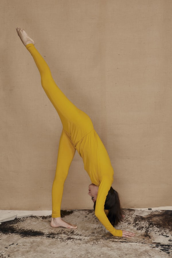 Yellow viscose knit leggings COLLIB - 3
