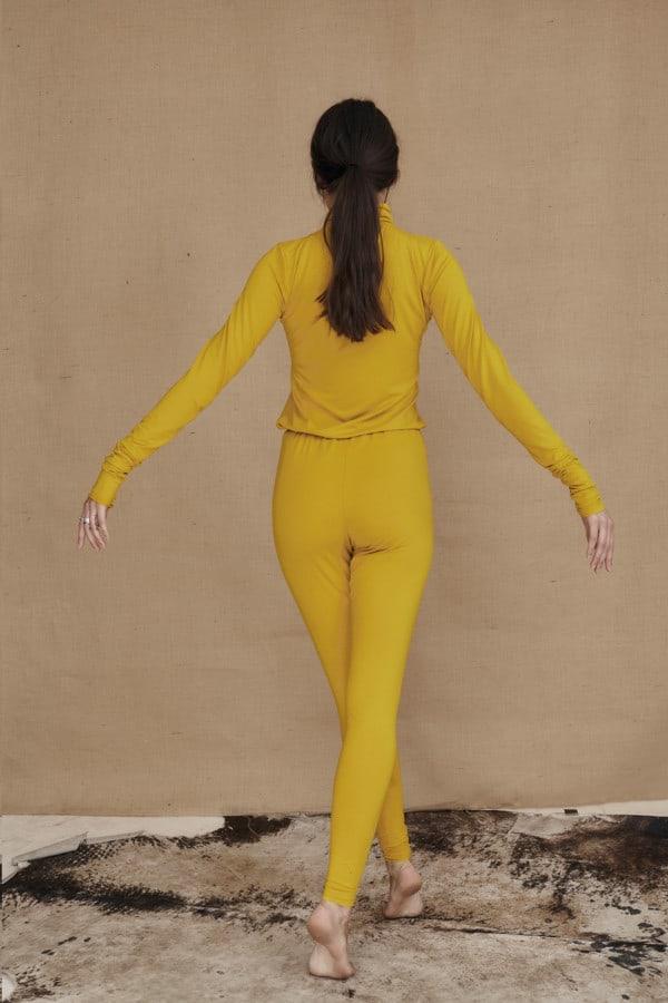 Yellow viscose knit leggings COLLIB - 4