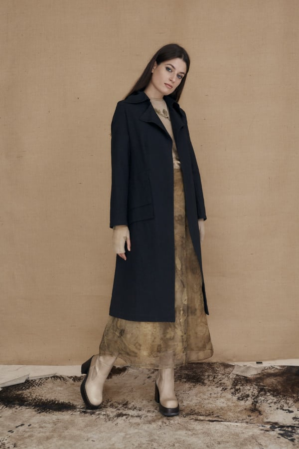 Mid-length black frock coat in organic cotton VALJEAN - 2
