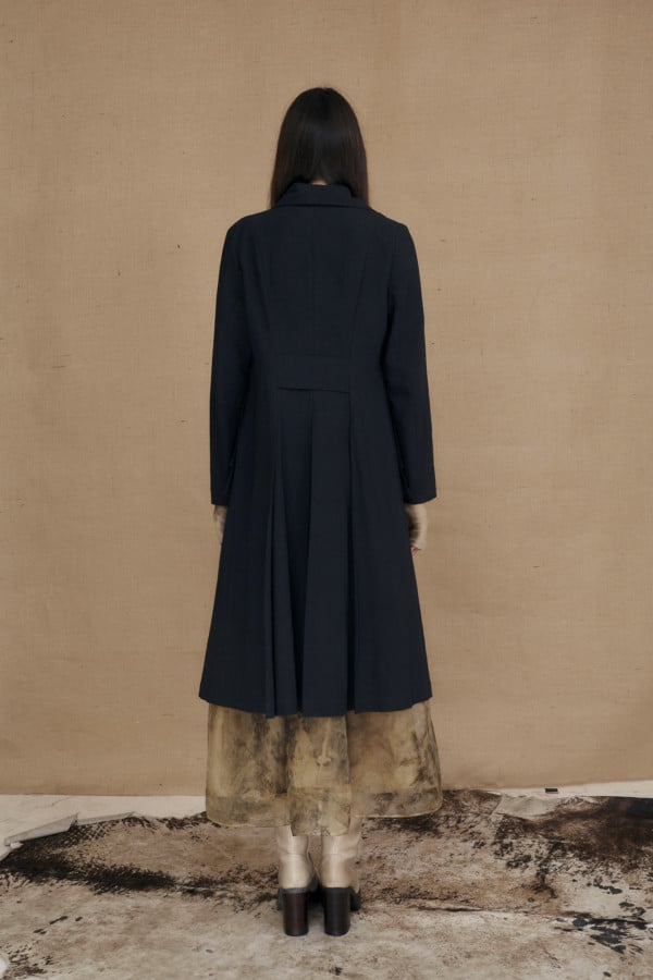 Mid-length black frock coat in organic cotton VALJEAN - 4