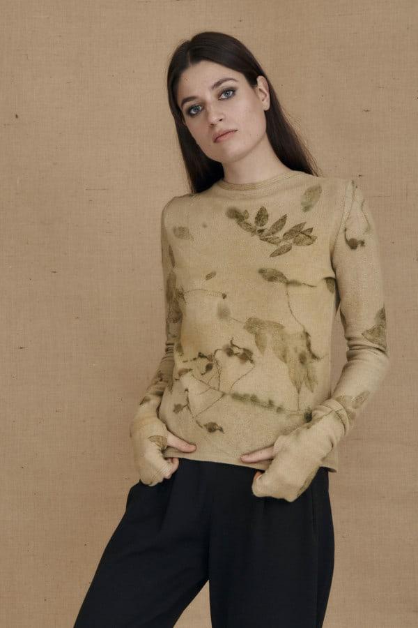 eco-print wool sweater CARA beige - 1