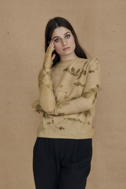 eco-print wool sweater CARA beige- 2