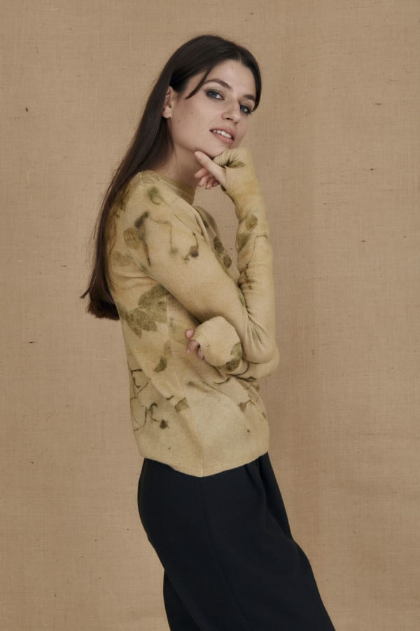 eco-print wool sweater CARA beige - 3