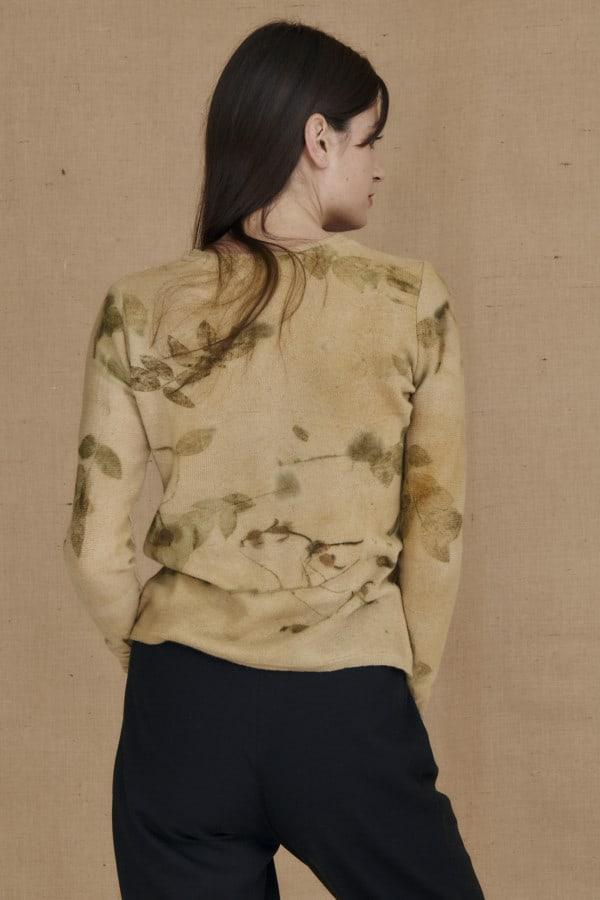 eco-print wool sweater CARA beige - 4