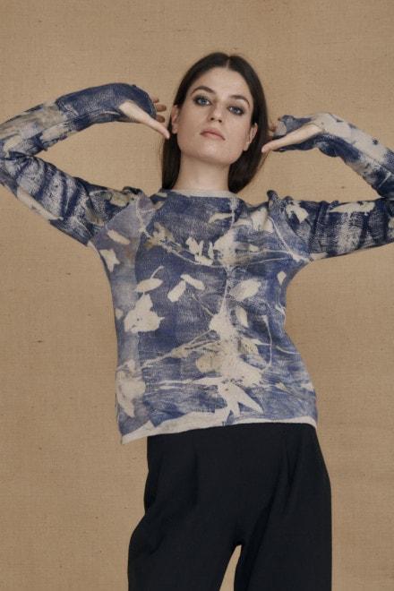 Pull en laine eco-print CARA bleu - 1