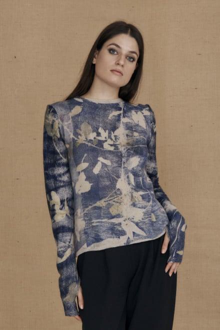 Pull en laine eco-print CARA bleu - 2