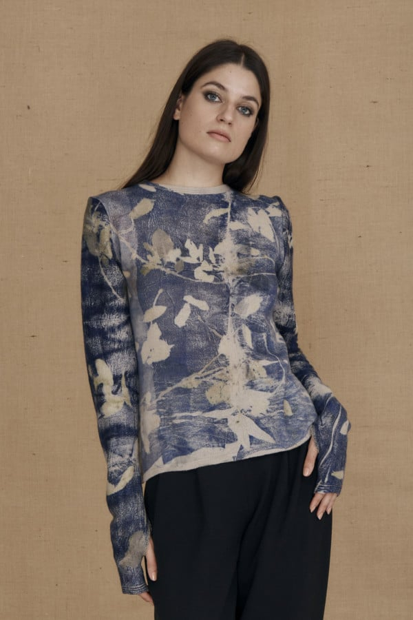 eco-print wool sweater CARA blue - 2