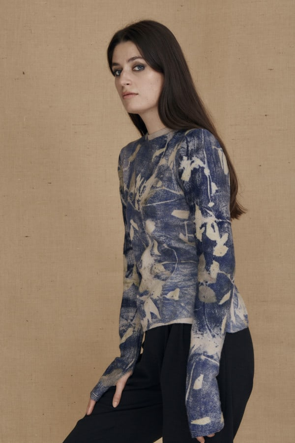 eco-print wool sweater CARA blue - 3